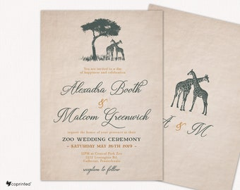 Zoo Wedding Invitations, Zoo Themed Wedding Invitations, Safari Vintage Wedding Invitations, Travel Themed Wedding Invitations, Destination