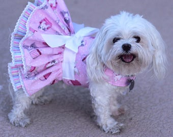 Dog Dress, Dog Harness Dress, Dog Clothes for Small Dog, Ruffle Dress for Dogs, Summer Dress, Handmade Dress, Custom Dress, Pink, Paris, dog