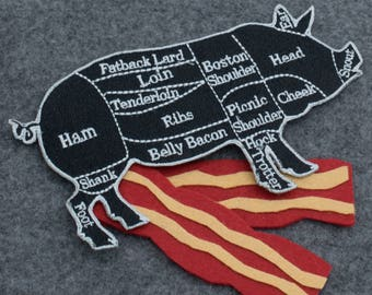 Large Black and Gray Pig Butcher Cuts Diagram Embroidered Iron-on Patch