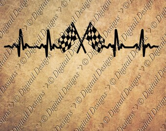 Racing EKG SVG png, dxf, eps, fcm ai Cut file for Silhouette and Cricut svg Car Racing Nascar Indy Heartbeat