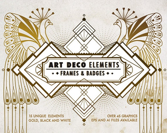 Art Deco Elements Frames and Badges Design Kit, Art Deco pattern ...