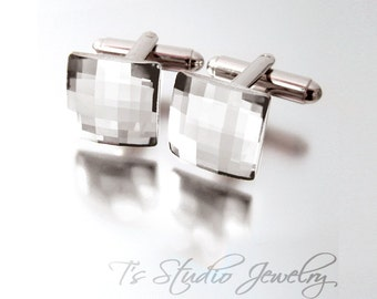 Clear Swarovski Crystal Square Chessboard Cufflinks - Several Colors Available