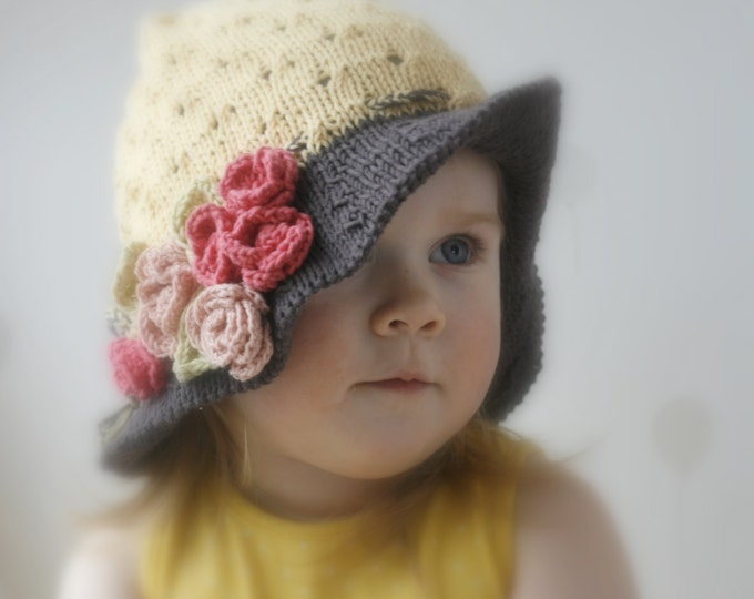 KNITTING PATTERN sun brim hat Ella with crochet flowers (baby, toddler, child, woman sizes)