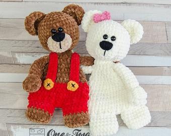 Ben & Bianca the Teddy Bear Cuddler - PDF Crochet Pattern - Instant Download - Blankie Baby Blanket