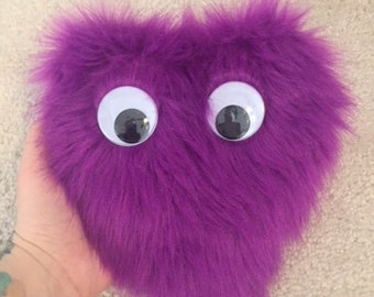 Fuzzy Purple Googly Eyed Coin Purse