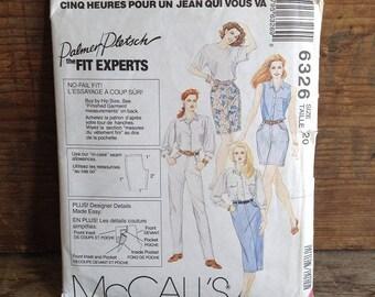 1993 Vintage McCalls Pattern. Pattern #6326. Uncut. Misses Size 20. Vintage Misses Straight Leg Pants, Skirt and Shorts. Vintage Sewing.