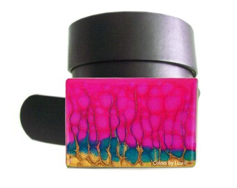 Fuchsia Belt Buckle Hand Painted Enamel Glacier Inspired Belt Buckle for Snap Belts  with Custom Colors Available