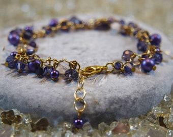 University of Washington Purple Diana Crystal Cluster Bracelet - Spring Plum Summer Gold Pearl