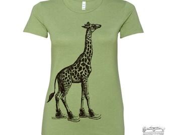 Womens GIRAFFE (in High Tops) -hand screen printed T Shirt s m l xl xxl (+ Colors Available) custom