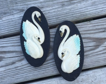Swan Swans Wall Hanging Pair of Plaques Retro Set of 2 Swans