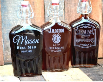 Groomsmen Flask, Mens Wedding Gift, Personalized Whiskey Decanter, Custom Flask, Engraved Flask, Husband Gift, Boyfriend Gift, Holiday Gift