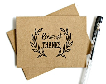 Kraft Thank You Cards (Set of 5) - Thank You Card Set, Wedding Thank You Cards, Thank You Note, Stationery, Kraft Thank You