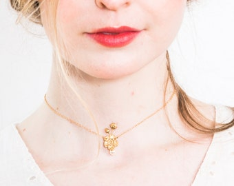 Pearl necklace,  Pearl choker,  Single pearl,  Pearl pendant, Flower necklace, Gold necklace, Bridesmaids choker, Dainty necklace