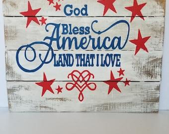 God bless America, 14x16, pallet sign