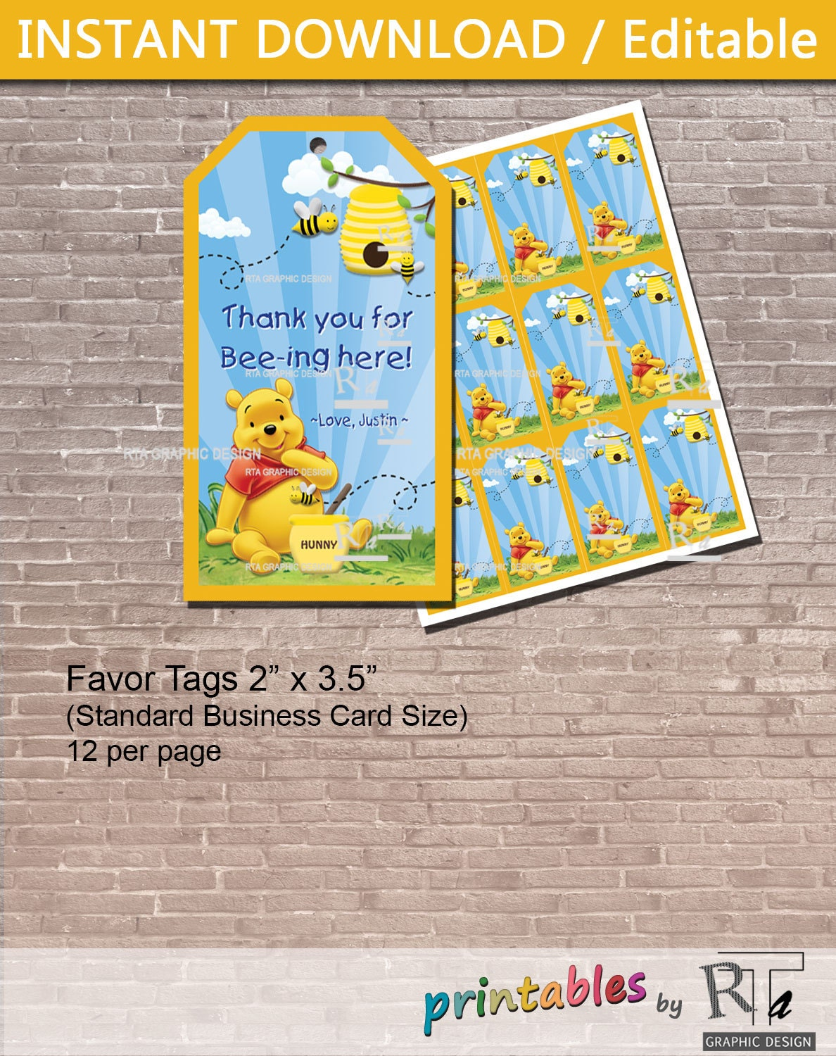 Personalized winnie the pooh favor tags instant download zoom negle Images