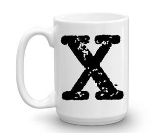 Initial Mug - Letter X - 15oz Ceramic Cup - Nephew Gift Mug - Right-Handed or Left-Handed Mug - Gift for Man