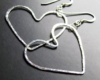 Fun Hand Hammered Silver Hearts - Dangle Earrings