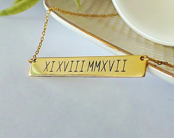 Custom Roman Numeral Necklace | Gold Bar Necklaces For Women | Roman Date Bar Necklace | Bridesmaid Gift | Best Friend Necklace | Bff Gift