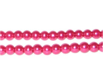 6mm Magenta Glass Pearl Bead, approx. 78 beads