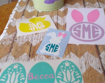 Easter Decals, made with outdoor vinyl. Personalized decal for your laptop, Ipad, car, water bottle etc.