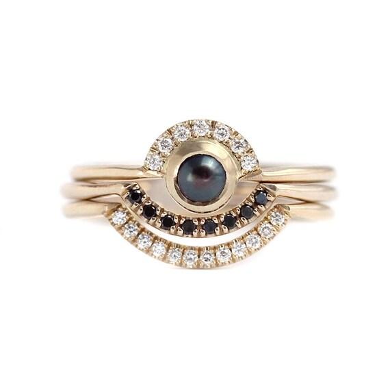 Pearl Wedding Ring Set Boho Ring Set Diamond Pearl