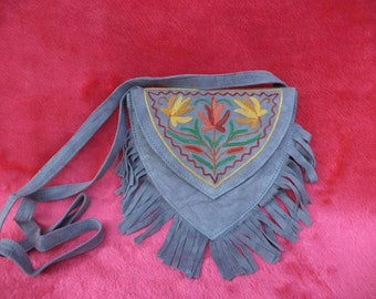 Suede Embroidered Fringe Purse