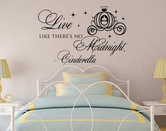 Live Like There Is No Midnight Quote Vinyl Wall Decal- Cinderella Wall Decal- Wall Decal Girls Room- Cinderella Carriage Vinyl Wall Art 067