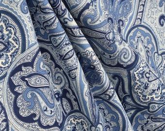 Paisley Shower Curtain Navy Blue Ivory 72 X 84 108 Long Extra Wide Custom