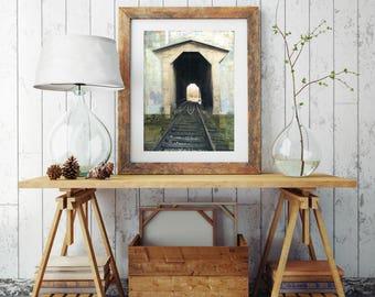 "Covered Bridge Print, Railroad Photography, Mixed Media Art, Fisher Bridge Vermont Art, Vermont Print, 8""x10"" or 11""x14"" Print ""Rail Bridge"""