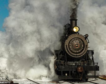 Steam Engine Photograph, New Hope and Ivyland Railroad, Train Photography, Vintage Locomotive, Bucks County, Pennsylvania, Smoke, Front