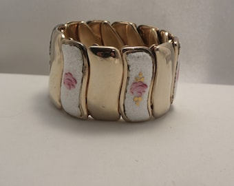 Vintage Guilloche Enamel Flower Wide Expansion Bracelet
