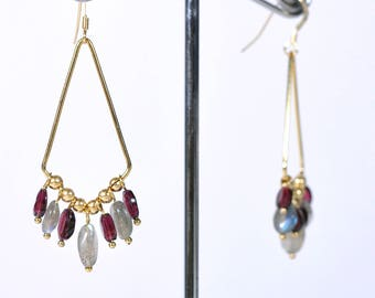 Cyane earrings - gold plated, Garnet and labradorite