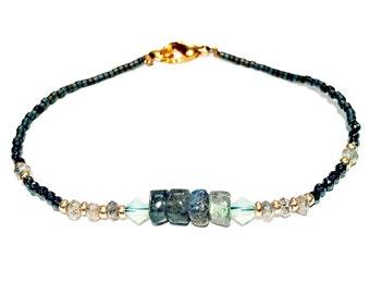 Thin Labradorite & Swarovski Crystal Beaded Bracelet