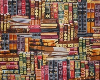 Library Books Print in Reds and Gold Pure Cotton Fabric--By the Yard