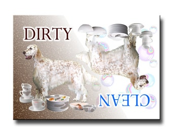 English Setter Clean Dirty Dishwasher Magnet