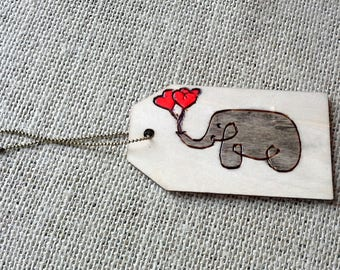 Woodburned gift tag, Baby elephant with 3 heart balloons, pyrography keepsake for Mother's Day or New Baby gift, red, grey, pyrography art