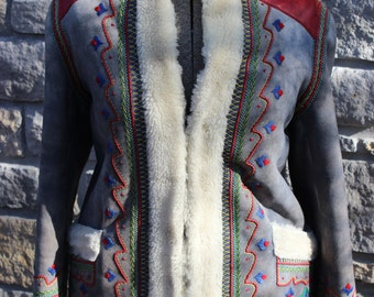 Vintage Sheepskin Coat Made in Poland Mountaineering Shearling Coat Embroidered Suede and Sheepskin