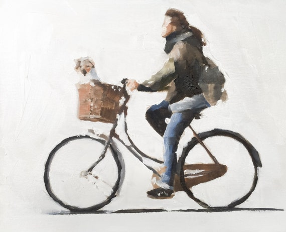 Woman Dog Painting Art PRINT Woman Cycling Woman Riding Bicycle with Dog - Art Print - from original painting by J Coates