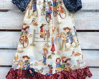 Western Dress, Western Peasant Dress, Girls Western Dress, Cowgirl Dress