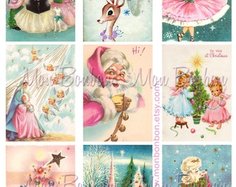 Digital Collage Sheet of Vintage Retro Kitschy Pink and Blue Christmas Cards - DIY Printable - INSTANT DOWNLOAD