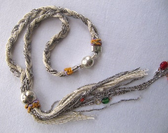 Boho braided silver, off-white, beads, magnetic clasp necklace