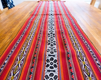 Hand-woven traditional Peruvian alpaca wool Aguayo table runner wall hanging