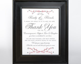 Cherry Blossom Thank You Sign Printable DIY Digital File PDF Wedding 4x6 5x7 8x10 Vertical Gift Table Sign Pink Gray
