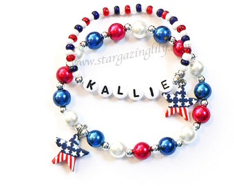 Patriotic Mother Daughter Personalized Pearl Name Bracelet Set with Red White n Blue Star Charm Mommy & Me