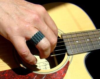 Men's Ring Black and Teal Seed Bead Ring  Beaded Ring  Black Man Ring  Stripe Chevron Ring  Beadwork Ring  Peyote Ring