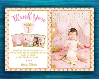 Minnie Mouse Thank You Card - Thank You Card - Pink and Gold - Gold Glitter- Polka Dot - Thank You Notes - Minnie Thank You