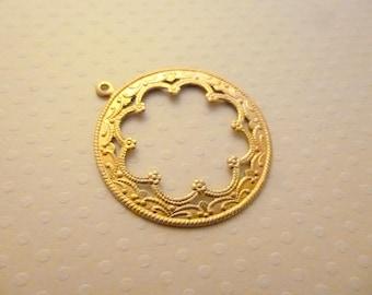 Print round pendant gold/copper 40 x 28 mm