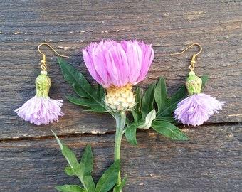 Thistles Flower Earrings, Lilac Pompon Tassel Earrings designer earrings, Milk Thistle, Boho chic style jewelry, Scottish Thistle
