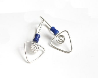 Sterling Silver Triangle Earrings, Drop Earrings, Lapis Earrings, Modern Silver Earrings, 18 Gauge Earrings