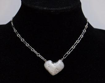 Grey Beach Stone XO Heart Necklace